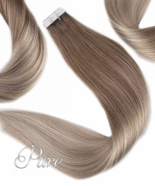 LIGHT ASH BROWN ROOT STRETCH  BALAYAGE TAPE HAIR EXTENSIONS.
