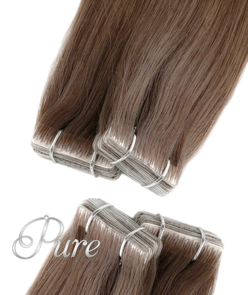 #6 Maple Brown - Light Brown - Invisible Luxury Seamless Skin Weft Tape-In Hair Extensions - Pure Tape Hair Extensions