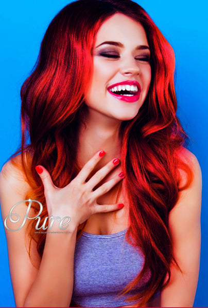 #RUBY RED TAPE -  HAIR EXTENSIONS -  BRIGHT RUBY RED HAIR EXTENSIONS - Pure Tape Hair Extensions