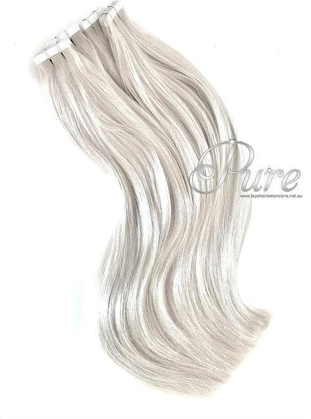 #WHITE BLONDE - ICY WHITE BLONDE - TAPE-IN  HAIR EXTENSIONS  - Pure Tape Hair Extensions