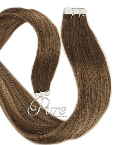 4/16/4 Medium Brown To Caramel Blonde Foils Short Fade Balayage / Ombre Tape Hair Extensions - Pure Tape Hair Extensions