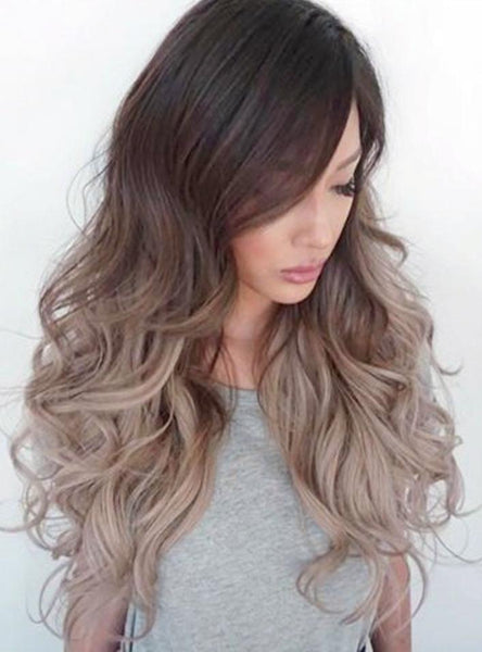 "#1B/18/60 ""CALIFORNIA BLONDE"" DARK BROWN ROOT TO ASH BLONDE BALAYAGE TAPE HAIR EXTENSIONS - Pure Tape Hair Extensions"