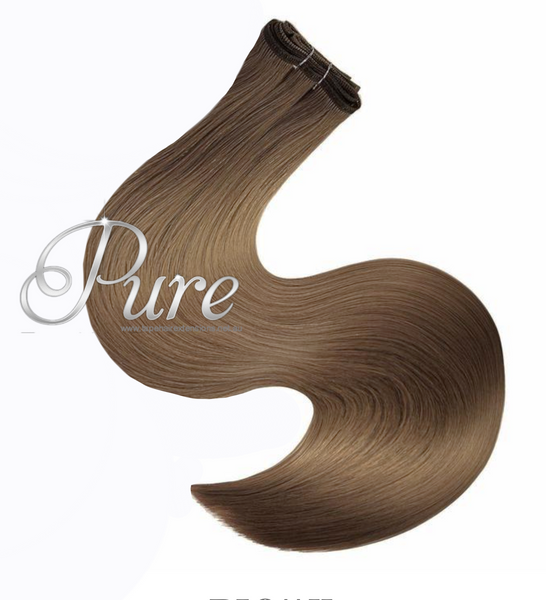 #8 - LIGHT CHESTNUT BROWN HAIR - WEFT / WEAVE LUXURY RUSSIAN GRADE HAIR - Pure Tape Hair Extensions