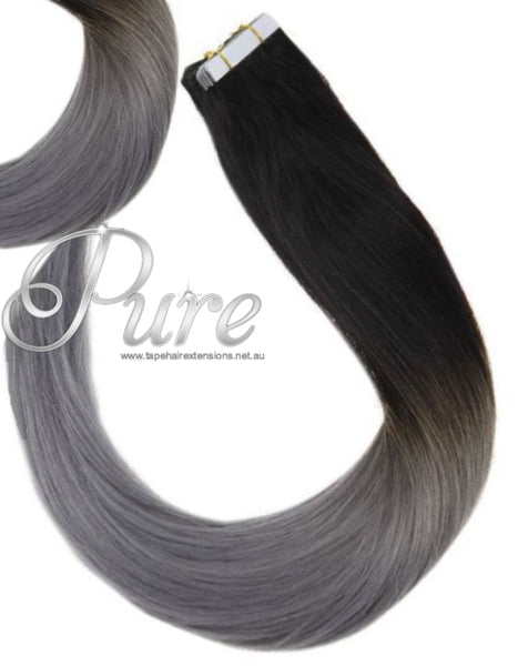 #1B/GREY DARK BROWN & GREY BALAYAGE TAPE HAIR EXTENSIONS