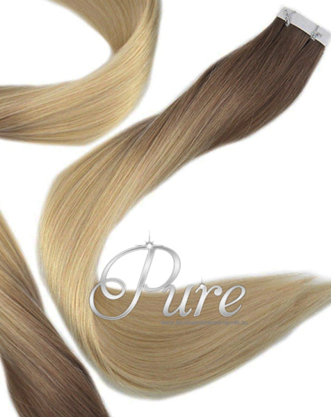 "#4/16 Dark Brown To Carame Blonde / long Root Stretch / Balayage / Ombre 22""Tape - Pure Tape Hair Extensions"