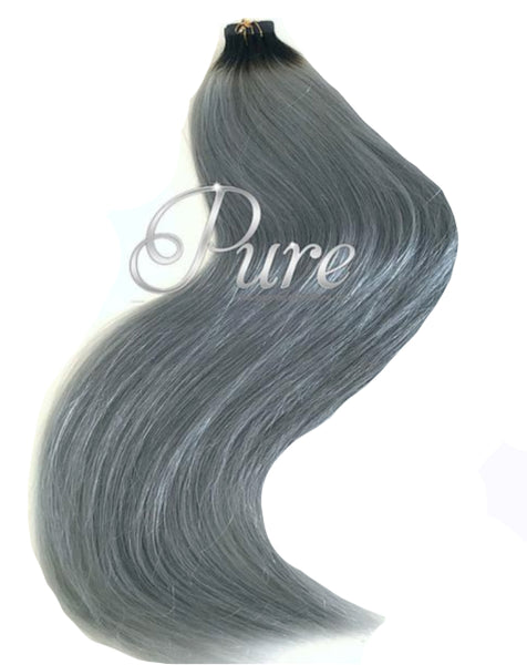 #1B GREY NATURAL BLACK ROOT STRETCH TO GREY TAPE HAIR EXTENSIONS