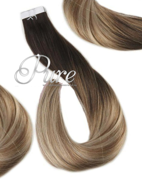 "#1B/22 ""ARUBA"" BROWN HIGHLIGHTS BALAYAGE TAPE HAIR EXTENSIONS"