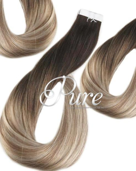"#2/22/8 ""BEIGE BEAUTY"" DARK BROWN BLONDE BALAYAGE TAPE HAIR EXTENSIONS"