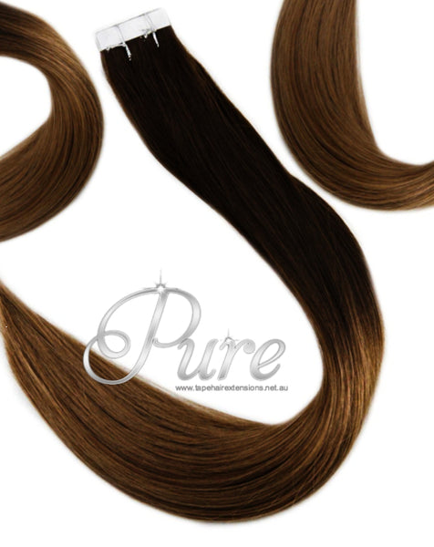 "#1B/6 ""MIDNIGHT"" BLACK TO BROWN BALAYAGE TAPE HAIR EXTENSIONS."