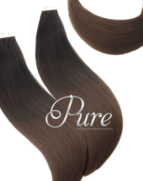 #1b/2 Natural Black To Chocolate Brown Balayage / Ombre Luxury Russian - Pure Tape Hair Extensions