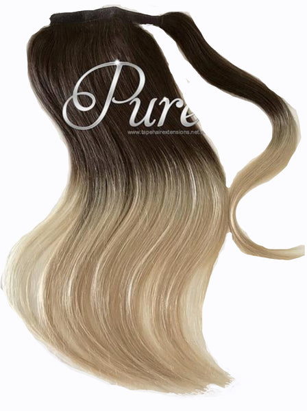 "WRAP PONYTAIL HAIR EXTENSION #2/22  Brown To Blonde Balayage - 20-22"" - Pure Tape Hair Extensions"