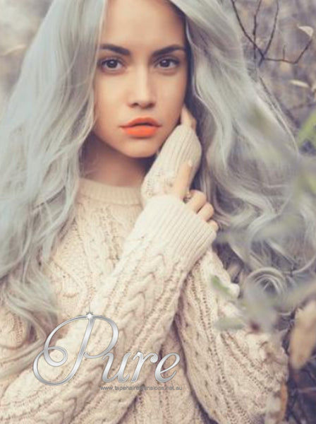 "# SILVER STAR - LIGHT SILVER GREY CLIP IN 20"" - Pure Tape Hair Extensions"