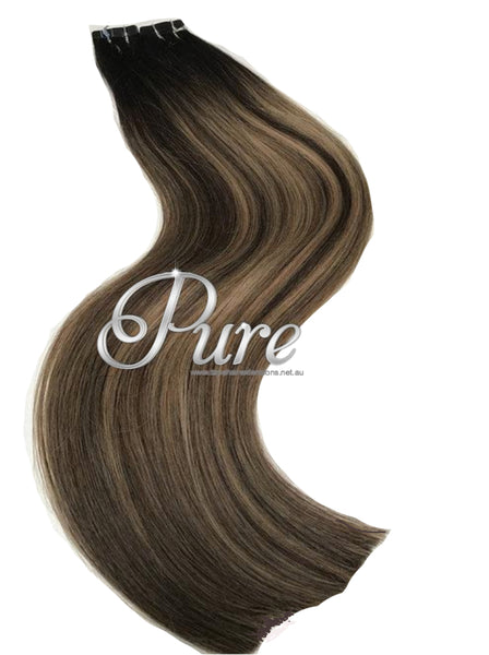Black & brown highlighted balayage root stretch tape hair extensions