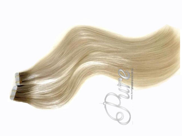"#4/60/613 ""NORDIC BLONDE"" ROOT STRETCH LIGHT BROWN TO BLONDE TAPE HAIR EXTENSIONS"