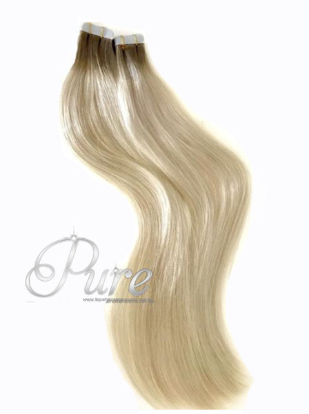 "#4/60/613 ""NORDIC BLONDE"" ASH BROWN ROOTS TO PLATINUM BLONDE - SHORT ROOT FADE TAPE BALAYAGE / OMBRE - Pure Tape Hair Extensions"