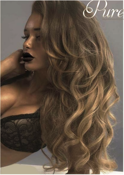 Brown & caramel balayage tape-in hair extensions