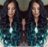 "#1B/ AQUA ""TROPICANA"" DARK BROWN TO TEAL BALAYAGE OMBRE TAPE HAIR EXTENSIONS - Pure Tape Hair Extensions"
