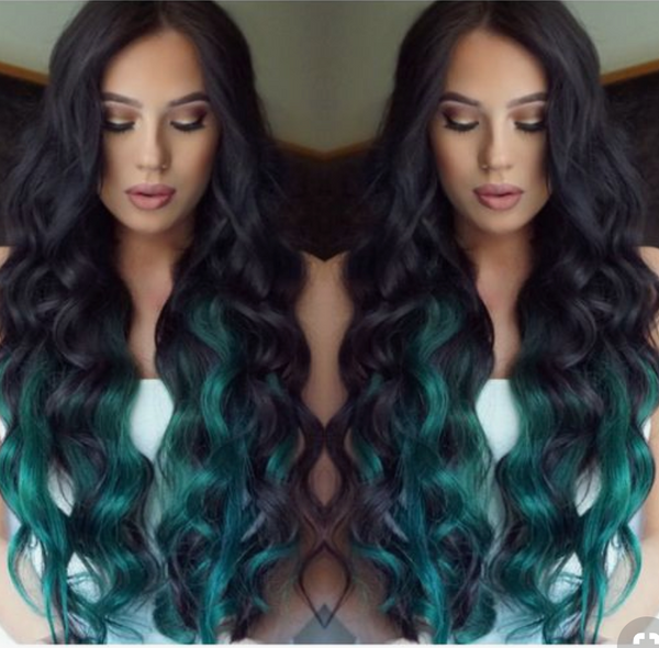 TEAL OMBRE TAPE-IN - DARKEST BROWN TO TURQUOISE / TEAL / AQUA OMBRE  - TAPE HAIR EXTENSIONS - Pure Tape Hair Extensions
