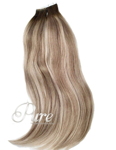 "#4/24/16 ""BOHEMIAN"" MEDIUM BROWN TO MEDIUM BLONDE & DARK BLONDE SHORT ROOT FADE BALAYAGE / OMBRE - Pure Tape Hair Extensions"