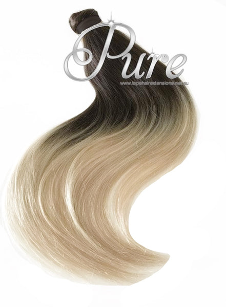 #2/22  100% HUMAN HAIR PONYTAIL HAIR EXTENSION BROWN TO BLONDE BALAYAGE - Pure Tape Hair Extensions