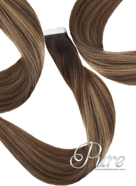 "#2/6/14 ""BAHAMAS"" BROWN TO MEDIUM CARAMEL BALAYAGE TAPE HAIR EXTENSIONS"
