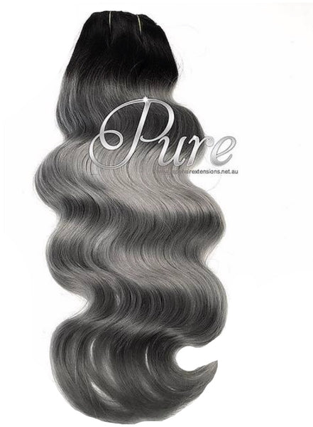 Clip-in Black to Grey Short Root - 200 grams Wavey 10 pcs - Pure Tape Hair Extensions