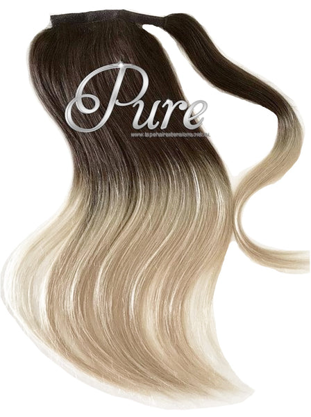 "WRAP PONYTAIL HAIR EXTENSION #2/22  Brown To Blonde Balayage - 20"" - Pure Tape Hair Extensions"
