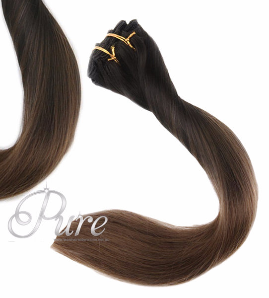"#1B/6 ""MIDNIGHT"" NATURAL BLACK TO LIGHT BROWN BALAYAGE / OMBRE CLIP-IN HAIR EXTENSIONS - Pure Tape Hair Extensions"
