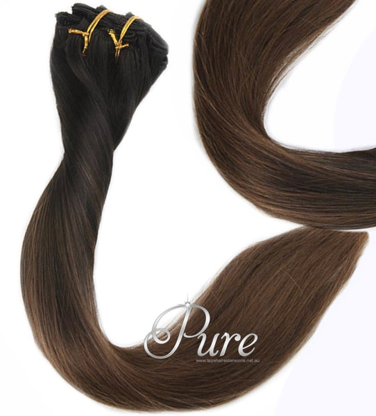 #1B / 6 MIDNIGHT - ULTIMATE CLIP-IN HAIR EXTENSIONS - DARK BROWN TO LIGHT BROWN BALAYAGE OMBRE CLIP IN - Pure Tape Hair Extensions