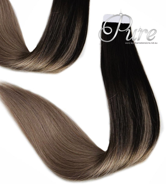 "#1/10/18 ""CIARRA"" BLACK HIGHLIGHT BALAYAGE TAPE HAIR EXTENSIONS"