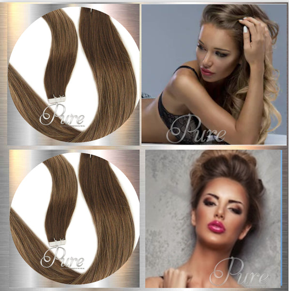 "#4/16/4 ""SIERRA"" MEDIUM BROWN TO CARAMEL BLONDE BALAYAGE TAPE HAIR EXTENSIONS - Pure Tape Hair Extensions"