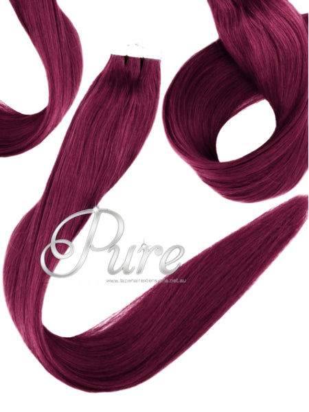 TAPE-HAIR EXTENSIONS -  #99bb -  BRIGHT BURGUNDY RED HAIR EXTENSIONS - Pure Tape Hair Extensions
