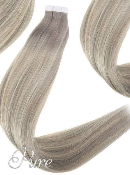 "#18/22/18 ""FIFTH AVENUE"" DARK ASH BLONDE ROOTS TO MEDIUM BLONDE & ASH BLONDE FOILS BALAYAGE OMBRE TAPE HAIR EXTENSIONS - Pure Tape Hair Extensions"