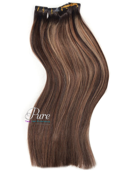 brown Root stretch caramel brown highlights tape hair extensions