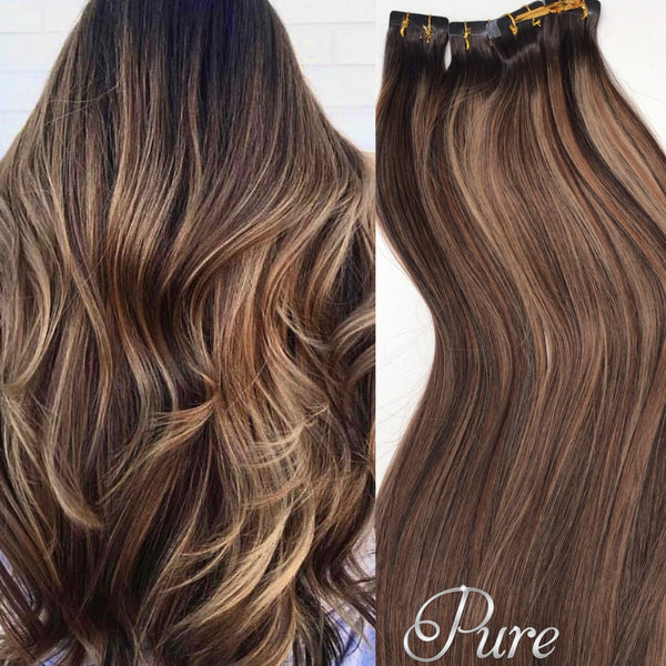 "#2/14/8 ""SIENNA SUNSET"" BROWN BALAYAGE TAPE HAIR EXTENSIONS"