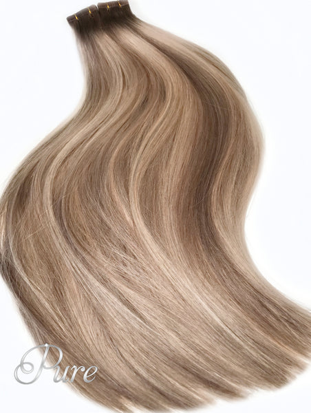 ASH BROWN ROOTS TO CARAMEL BLONDE FOILS BALAYAGE TAPE HAIR EXTENSIONS