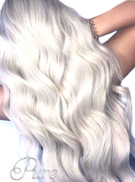 #ICY BLONDE - WHITE BLONDE LIGHTEST ASH BLONDE WEFT WEAVE