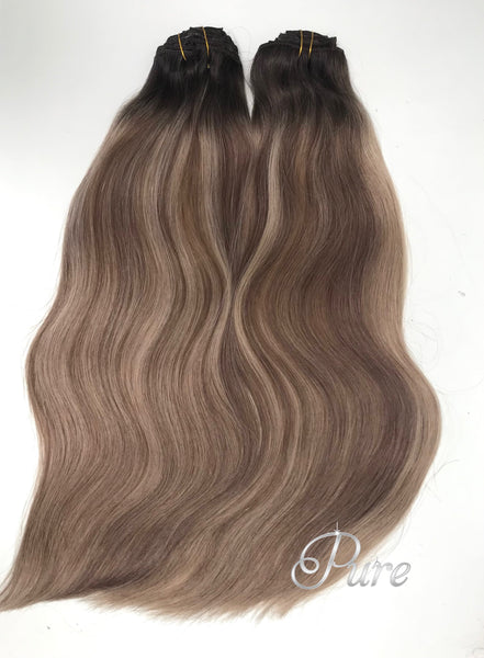 "#1b/10/16""MALIBU"" ASH BROWN HIGHLIGHT BALAYAGE CLIP IN HAIR EXTENSIONS"