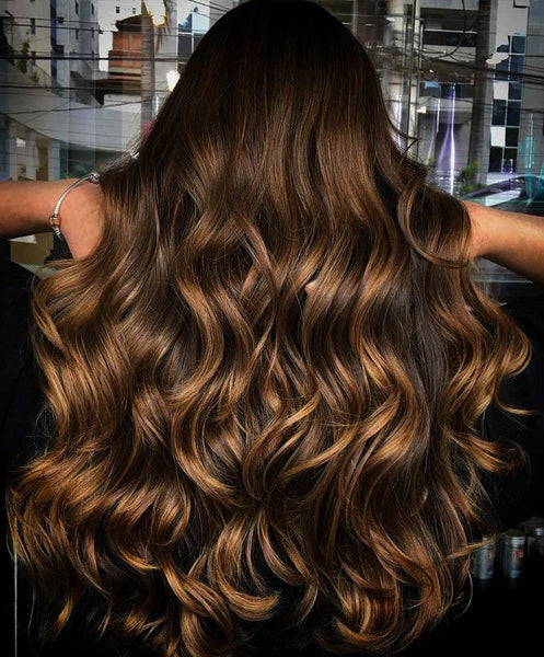 Tape - 4/6/10 - Medium Brown To Light Brown Caramel Blonde foils - Rooted / Root Stretch - Pure Tape Hair Extensions