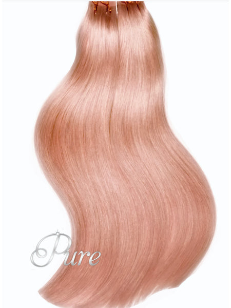 #CORAL BLONDE - LIGHT PEACH /  PASTEL ORANGE TAPE-IN HAIR EXTENSIONS - LUXURY RUSSIAN GRADE - Pure Tape Hair Extensions