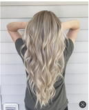 "#18/60/18 ""ICONIC BLONDE"" ROOTS STRETCH TO ASH BLONDE FOILED BALAYAGE CLIP IN HAIR EXTENSIONS. - Pure Tape Hair Extensions"