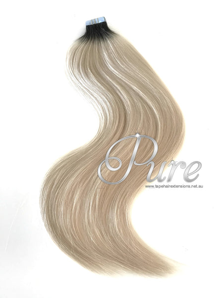 Black roots to blonde root stretch balayage tape hair extensions
