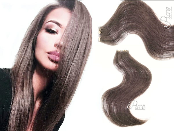 #10 ULTRA DARK ASH BLONDE / LIGHT ASH BROWN HAIR TAPE HAIR EXTENSIONS - Pure Tape Hair Extensions