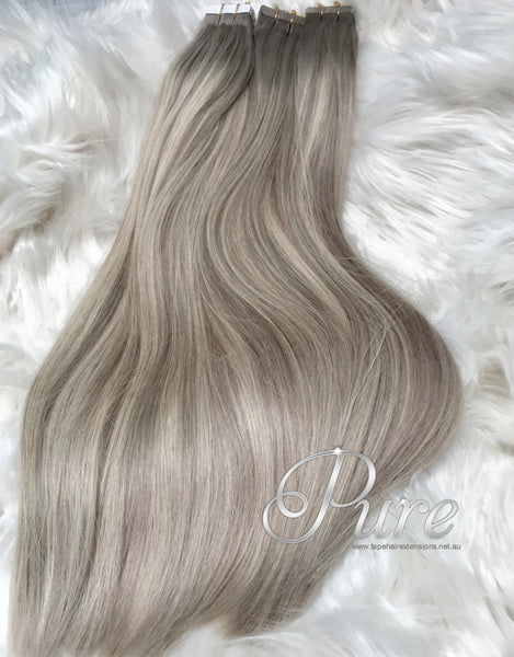 ash blonde root stretch highlight tape Hair Extensions