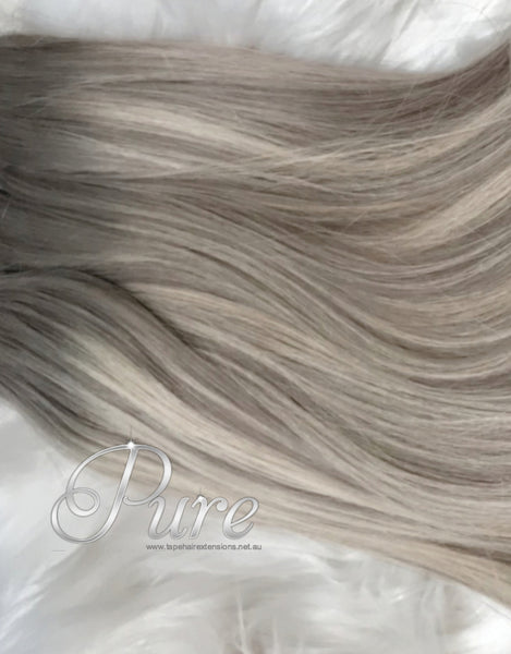 ASH BLONDE HIGHLIGHTED TAPE HAIR EXTENSIONS