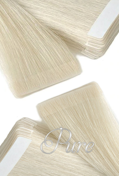 #60 Platinum Blonde - Invisible Seamless Skin Weft Tape-In Hair Extensions - Pure Tape Hair Extensions