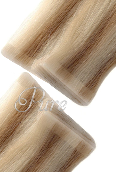 #6/613  LIGHT BROWN / GOLDEN BLONDE FOILED SEAMLESS SKIN WEFT HAIR EXTENSIONS - Pure Tape Hair Extensions