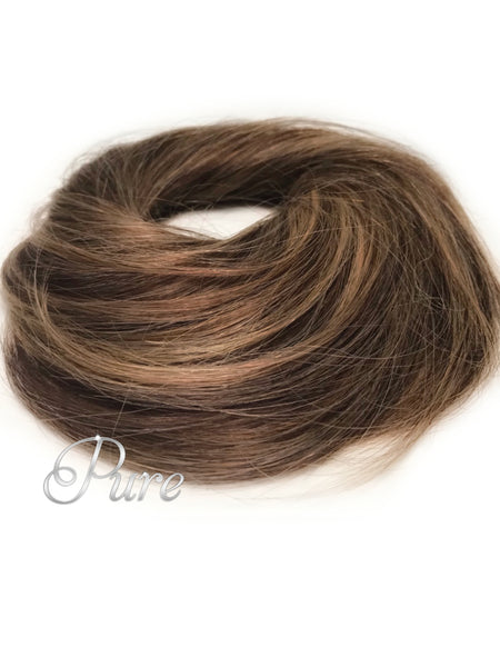 #8/10  Light Brown Highlighted -Booster Volume Bun - 100% human hair scrunchies bun - Pure Tape Hair Extensions