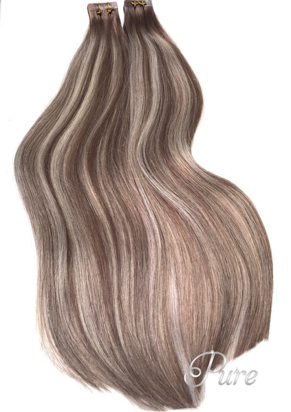"#6/613/6 ""LIBERTY"" LIGHT BROWN HIGHLIGHTED BALAYAGE TAPE HAIR EXTENSIONS"