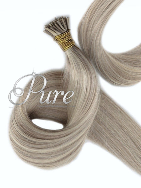 #18/613 - COOL LIGHT BLONDE & DARK ASH BLONDE FOILS MICRO BEAD HAIR EXTENSIONS - Pure Tape Hair Extensions
